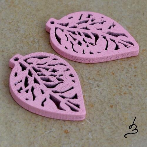 Dřevěný list růžový - 4 ks