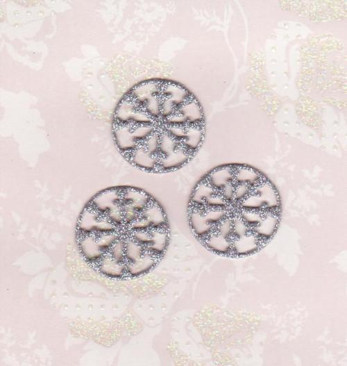 Vločky ze třpytivé pěnovky - stříbrné (10 ks)