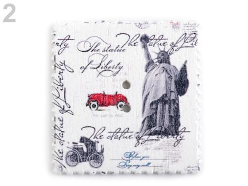 Dřevěný dekorační knoflík poštovní známka(4ks) č.2