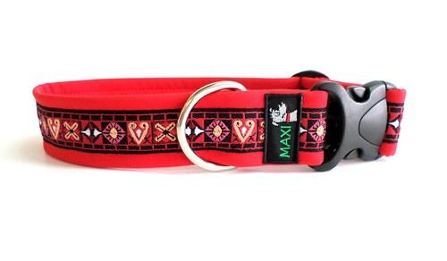 Luxusní maxi obojek červený tkaný