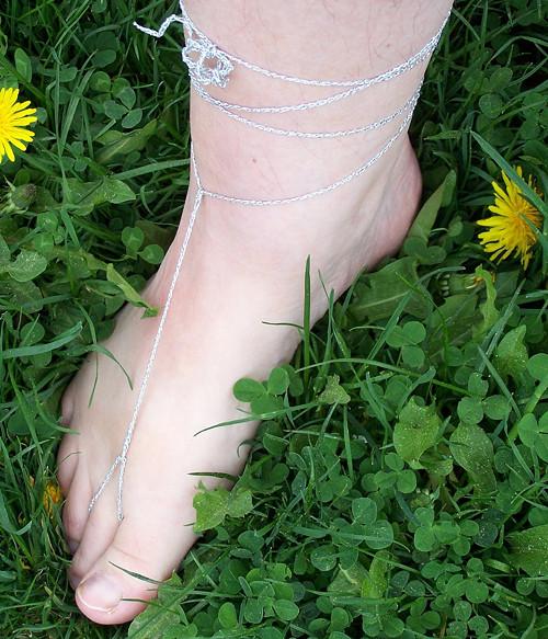 Nákotníčky, barefoot sandálky stříbrné