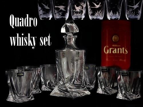 Quadro whisky set- 7 kusů s loveckým motivem
