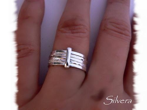 Stříbrný 925 Prstýnek, ... PĚTIKROUŽEK...