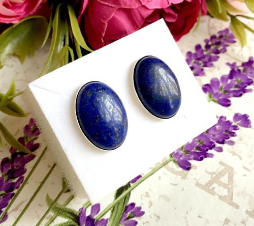 Stříbrné puzetové naušnice lapis lazuli AG925