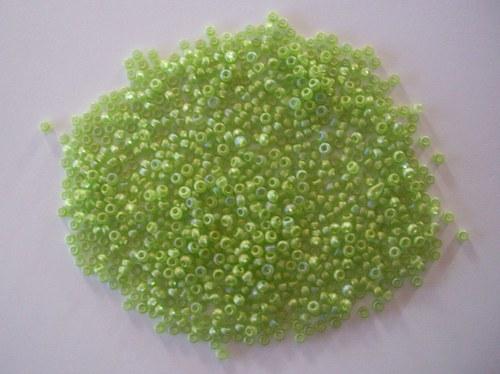 Skleněné korálky - rokajl 10/0 zelený s rainbow
