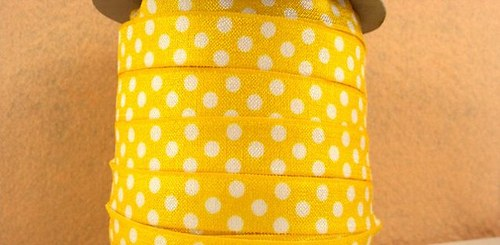 Pruženka/guma š. 16 mm: Žlutá puntíkatá