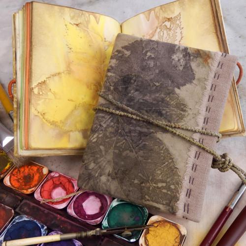 Milý deníčku... ručně vázaný deník, eco print 02