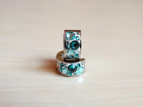 White- turquoise kreolky z chirurgické oceli
