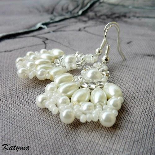 Náušnice smetanové svatební květy