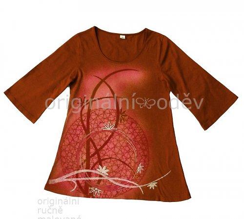 Malovaná tunika - liány - skořicová
