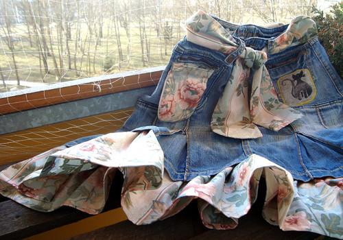 Džínová veselá sukně- recy