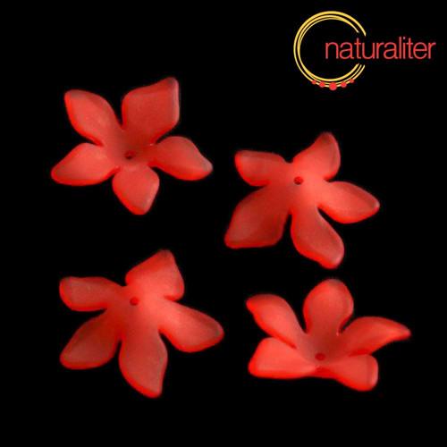 Květina akrylová - lilie 27mm červená, 4ks
