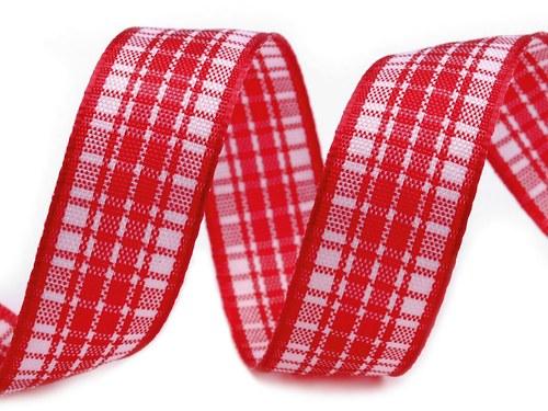Stuha károvaná š.16mm červená