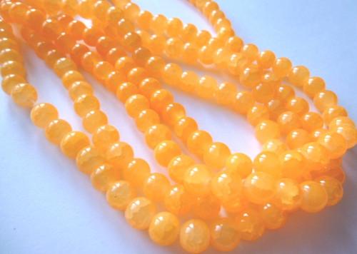 Imitace jadeit - práskané,světle oranžové 8mm/20ks