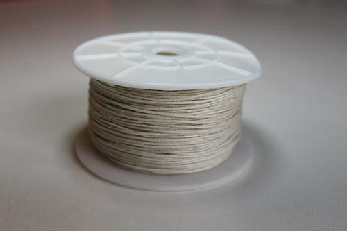 Voskovaná bavlněná šňůrka bílá - 1m