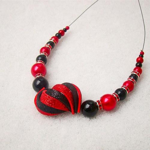 náhrdelník ulita třpytivá černočervená