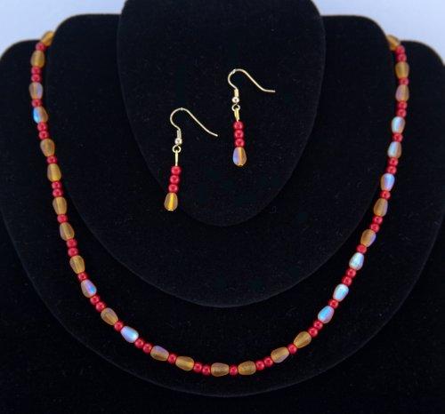 Spr náhrdelník a náušnice - s duhovými korálky