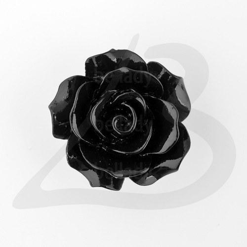 AKO1490, Akryl KORÁLKY Ruža 18mm ČIERNA /1ks