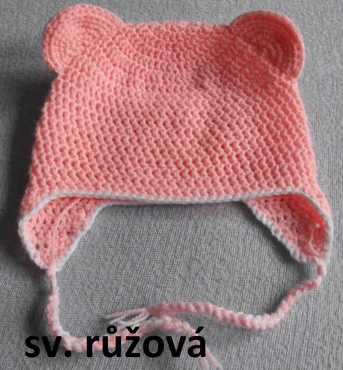 Háčkovaná čepice růžová s ušima