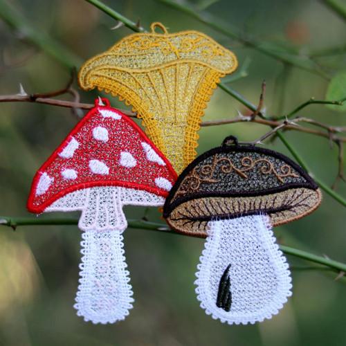 Krajkové dekorace - houbařův sen VĚTŠÍ - 3ks