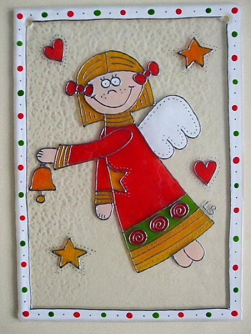 Vánoční závěsné sklíčko do okna - andílek