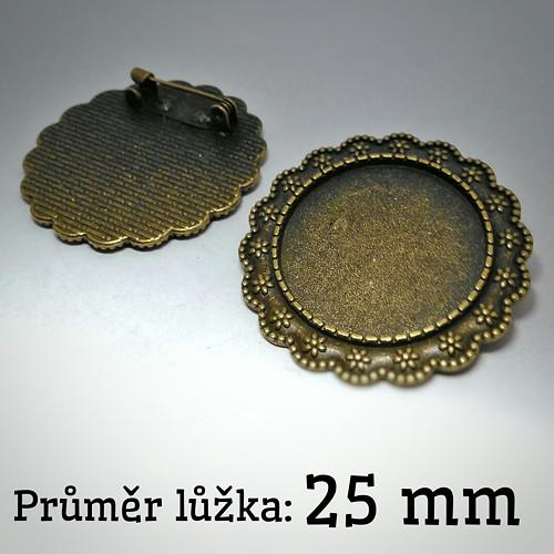 Brož s lůžkem (25mm) - bronzová