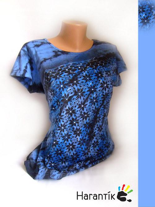 """Dámské tričko - \""""KRAJKA V MODRÉ\"""" /ve vel. na přání"""