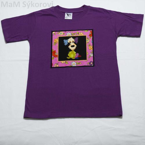 Tričko s aplikací barevný pes v.134 SLEVA!!!