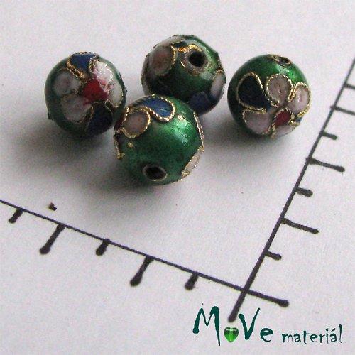 Korálky kovové CLOISONNE zelený 10mm, 2ks