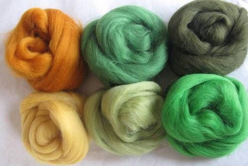 Merino vlna-  sada zelená jarná 60 g