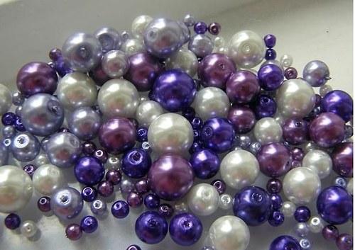 Voskované perly fialový MIX Ø4-10mm 50g skleněné