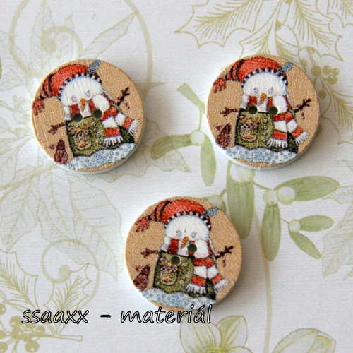 Dřevěný knoflík ~ 20 mm ~ vánoční I