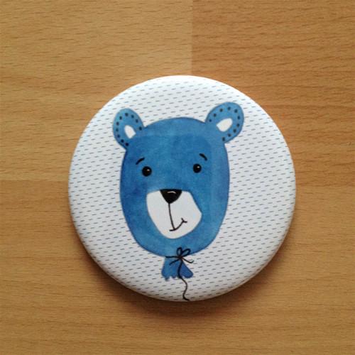 Magnetka 56 mm - Medvídek modrý balónkový