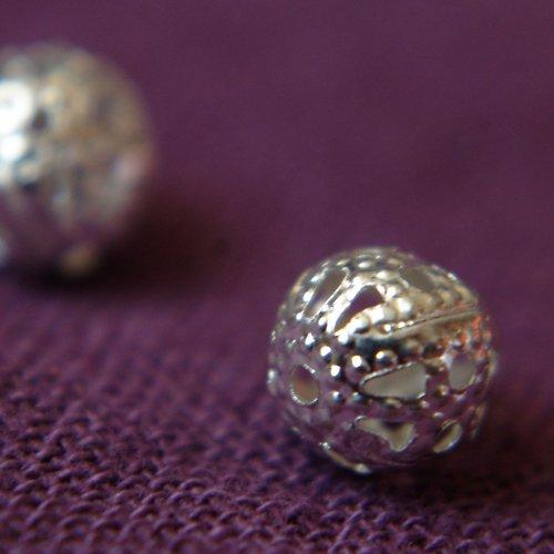 Filigránové kuličky 6mm stříbrné 10ks sleva z 22,-