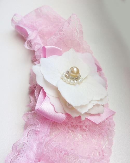 Baby pink - podvazek s něžnou krabičkou
