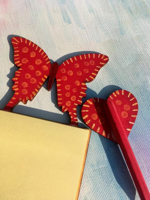 Magnetické bločky s tužkou - Motýl
