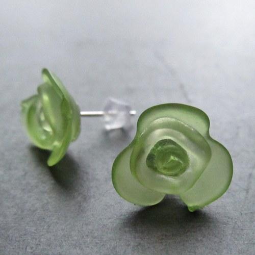 Náušnice puzetky kytičky zelená