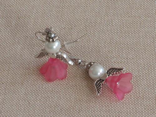 Náušnice andílkové růžové