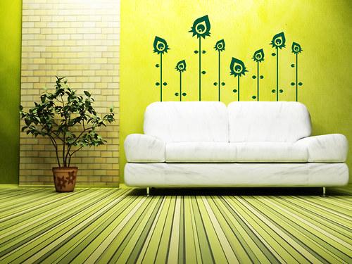 Moderní květiny - nálepka na stěnu