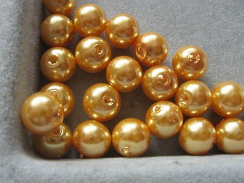 Vosková perla - zlatá 8 mm / 25ks