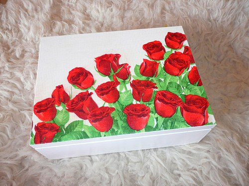Krabička na čaj - 6 přihrádek - červené růže