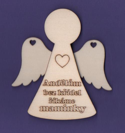 Dřevěný výřez, anděl, 3D, sada s křídly a nápisem