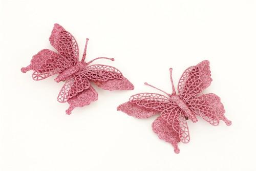 Dekorační motýl-růžová