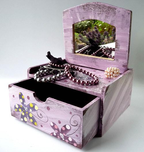 Šperkovnice se zrcadlem - fialová s kytkami