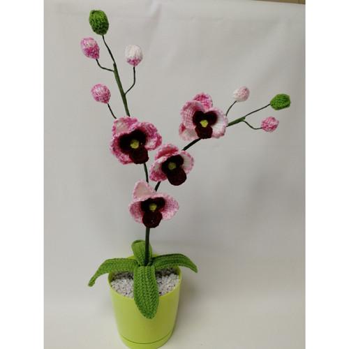Háčkovaná květina - růžovo bílá orchidej