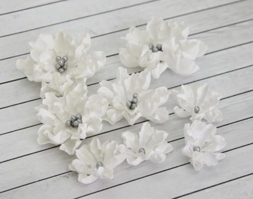 Latkové kvetiny pro scrapbook (8 květin), set #5