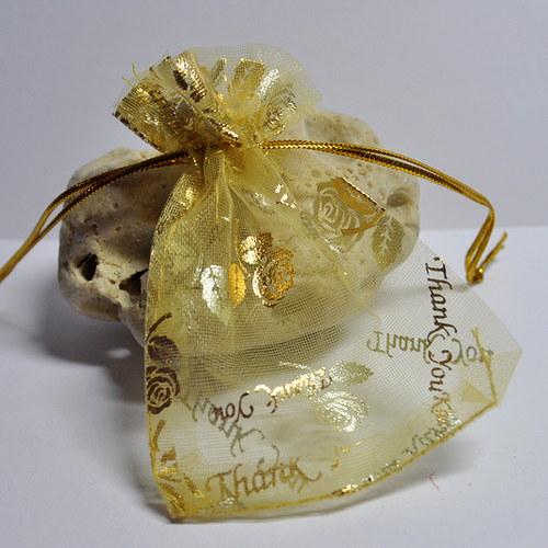 Stahovací pytlík organza / zlatá růže