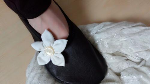 """Barefoot baleríny kožené \""""Bílá květina\"""""""