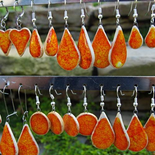 Náušničky  oranžová s efekty