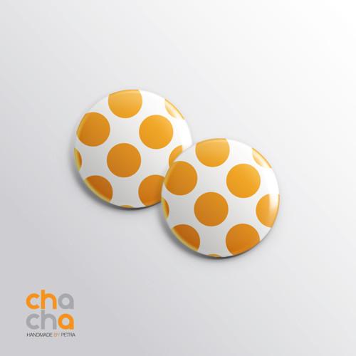Puntíkaté retro náušnice - žluté